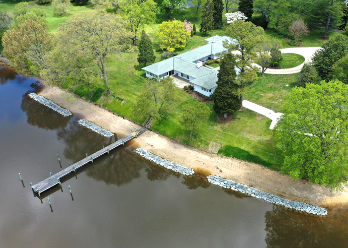 Prevention of soil erosion starts with repairing your rip rap erosion control and the use of living shoreline.