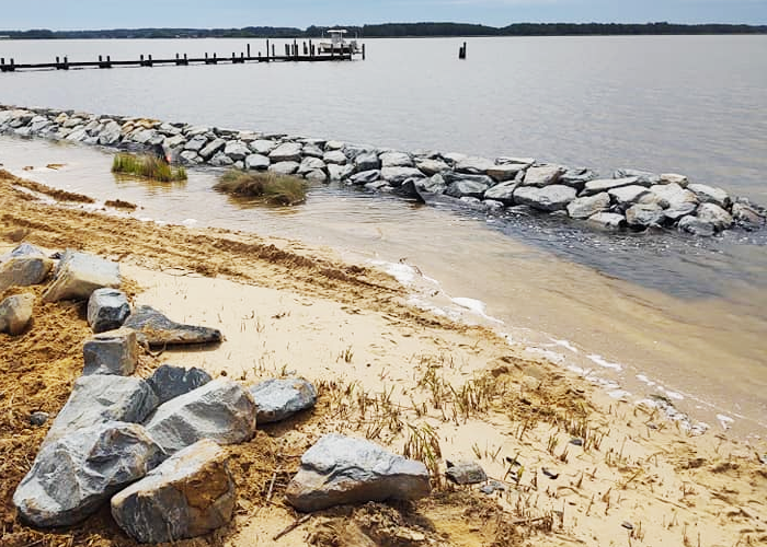 Custom living shoreline in Royal Oak, MD
